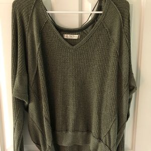 Free People oversized wide neck top